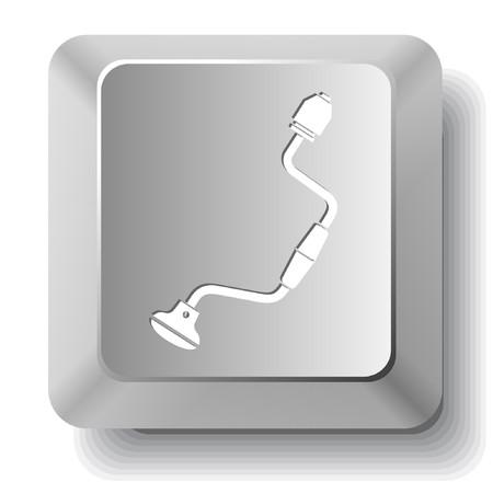 Hand drill. computer key. Vector