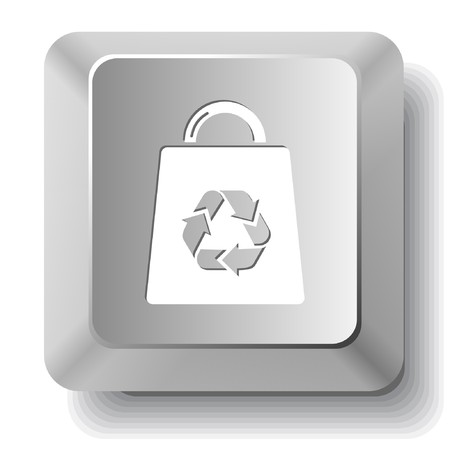 Bag with recycle symbol. computer key. Stock Vector - 7522815