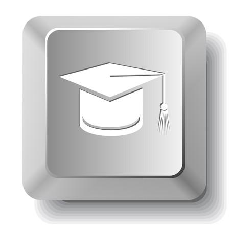 卒業の帽子。コンピューターのキー。