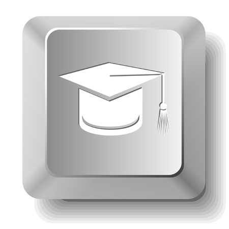 Graduation cap. computer key. Stock Vector - 7522674