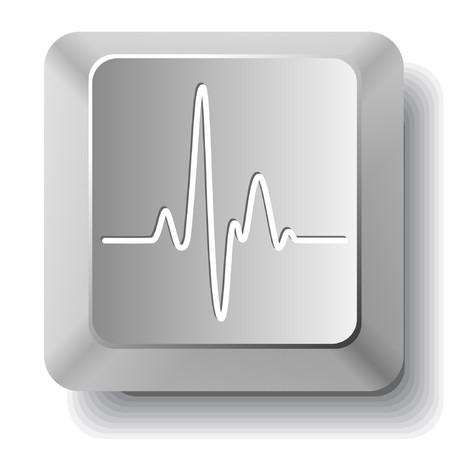 心電図。コンピューターのキー。