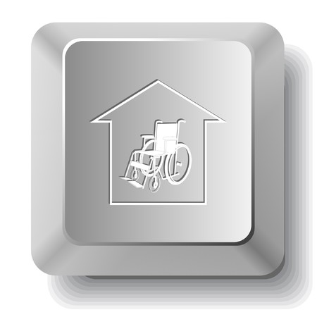 seniorenheim: Pflegeheim. Schl�ssel des Computers.  Illustration