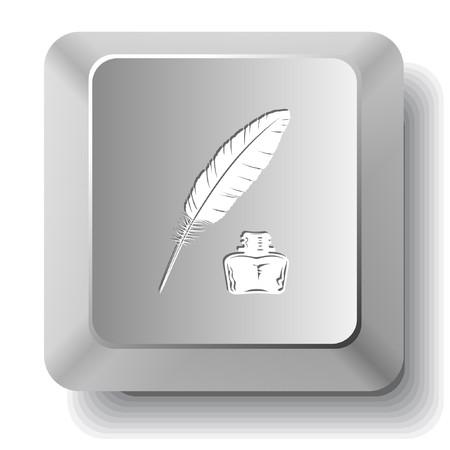 羽とインク壺。コンピューターのキー。  イラスト・ベクター素材