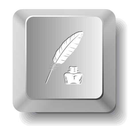 Feather and ink bottle. computer key. Vector