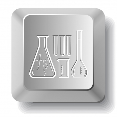 Chemical test tubes.  computer key. Stock Vector - 7523648
