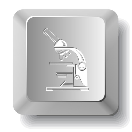 Lab microscope. computer key. Vector