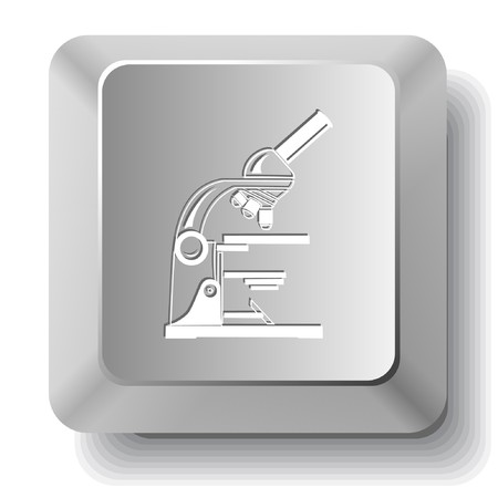 Lab microscope.  computer key. Stock Vector - 7523626