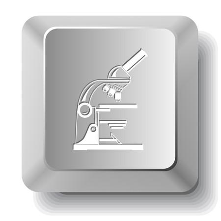 input devices: Lab microscope.  computer key. Illustration