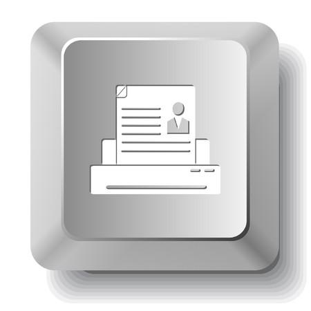 Printer. computer key. Stock Vector - 7522917