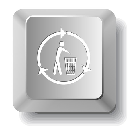Recycling bin. computer key. Stock Vector - 7523021