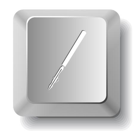 ruling: Ruling pen.  computer key. Illustration