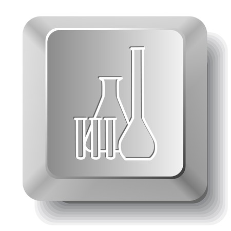 Chemical test tubes. computer key. Vector