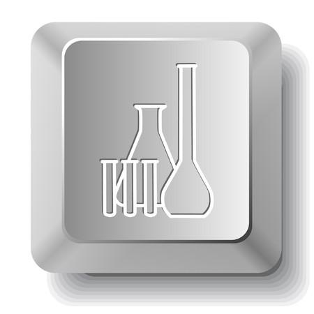 kunststoff rohr: Chemische Reagenzgl�ser. Schl�ssel des Computers. Illustration