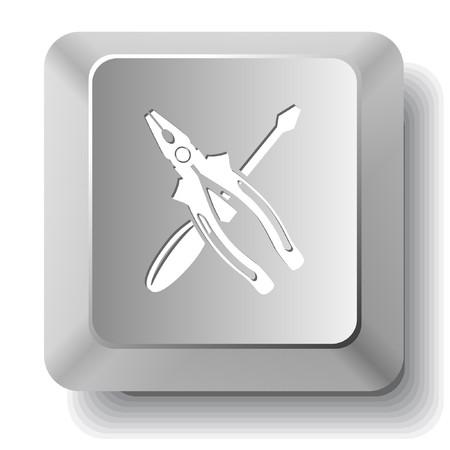 tornavida: Screwdriver and combination pliers.  computer key.