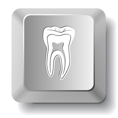 Tooth. computer key. Vector