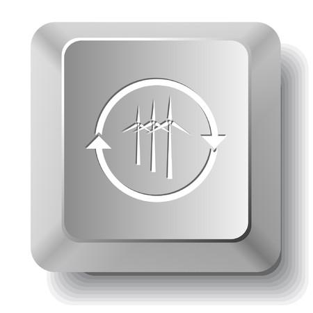 Wind turbine. computer key. Stock Vector - 7523506