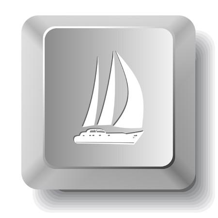 ヨット。コンピューターのキー。