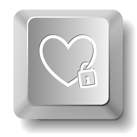 Closed heart. computer key. Vector