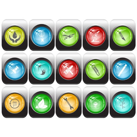 set of internet buttons Stock Vector - 7602175