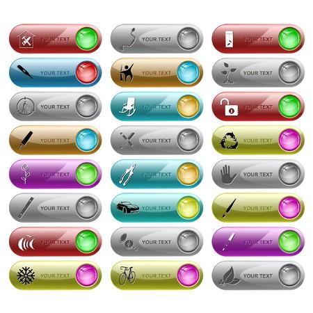 インター ネット ボタンのセットです。24 の要素。  イラスト・ベクター素材