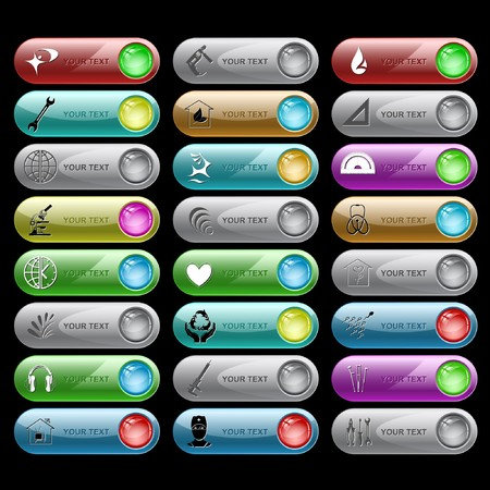 set of internet buttons. 24 elements. Stock Vector - 7602269