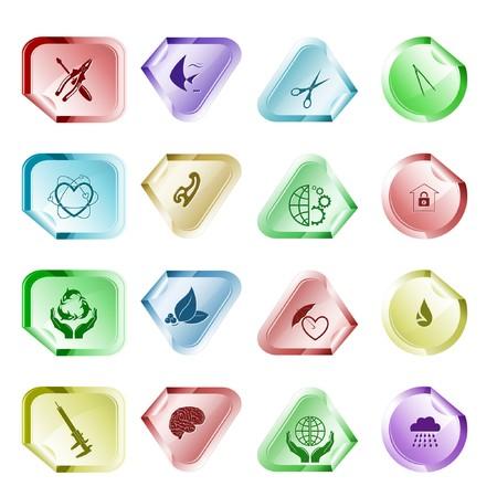 Vector set of stickers. 16 elements. Stock Vector - 7602241