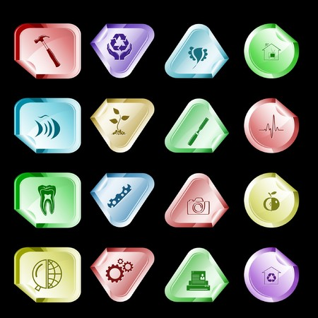 set of stickers. 16 elements. Vector