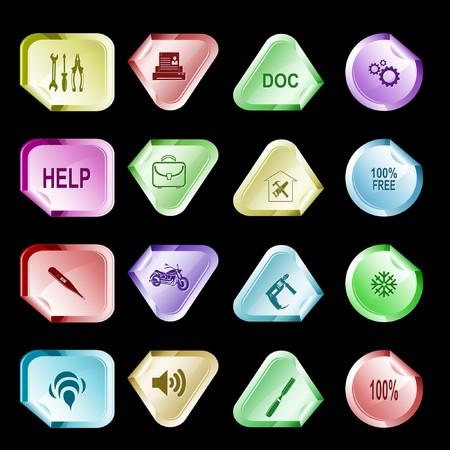hamose: set of stickers. 16 elements. Stock Photo