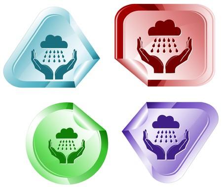 hamose: weather in hands. Vector sticker.