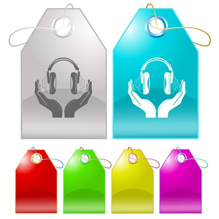 hearing protection: headphones in hands. Vector tags. Stock Photo