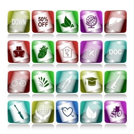 Vector set of internet buttons. 20 elements. photo
