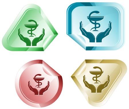 health in hands. Vector sticker. Stock Photo - 8179304