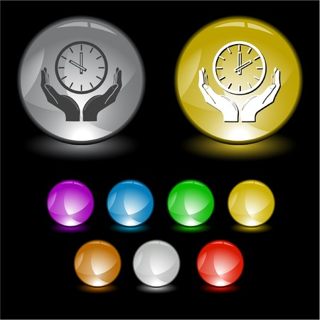 clock in hands  interface element. Stock Photo - 8220475