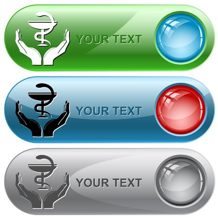 health in hands. internet buttons. photo