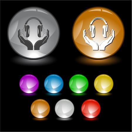 headphones in hands. Vector interface element. Stock Photo - 8220473