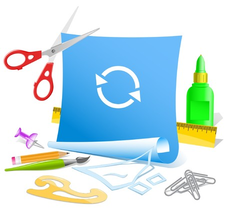 pva: Recycle symbol.   paper template. Stock Photo