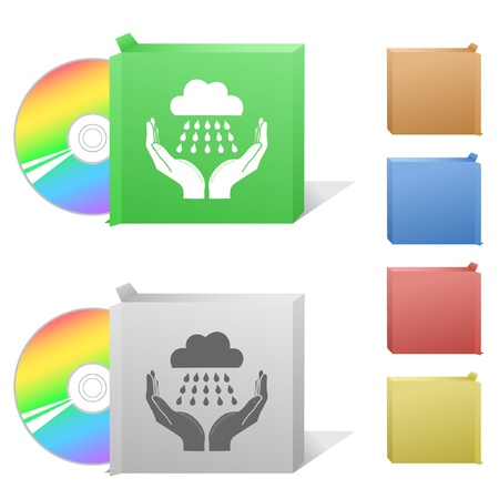 weather in hands. Box with compact disc. Stock Photo - 8220516