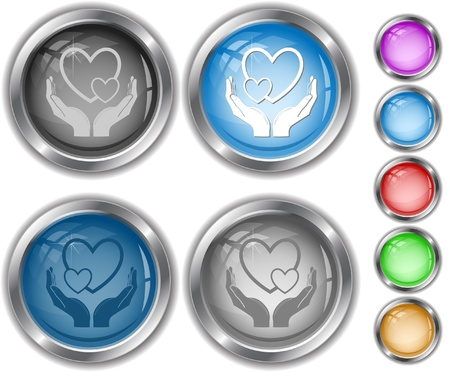love in hands.   internet buttons. Stock Photo - 8249324