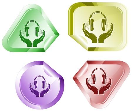 hamose: headphones in hands.  sticker. Stock Photo