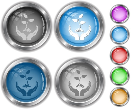 life in hands. Vector internet buttons. Stock Photo - 8406625
