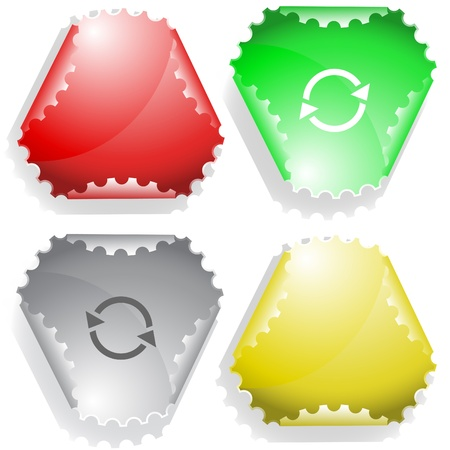 declinate: Recycle symbol. Vector sticker.
