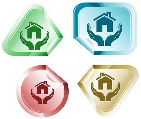 hamose: home in hands. Vector sticker. Stock Photo