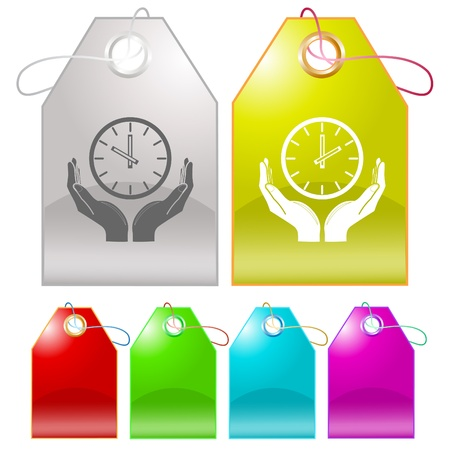clock in hands. Vector tags. photo