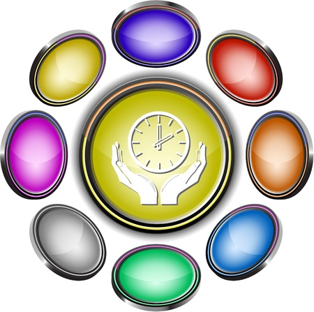 clock in hands. Vector internet buttons. 8 different projections. Stock Photo - 8406630