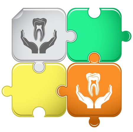 health in hands. Vector puzzle. Stock Photo