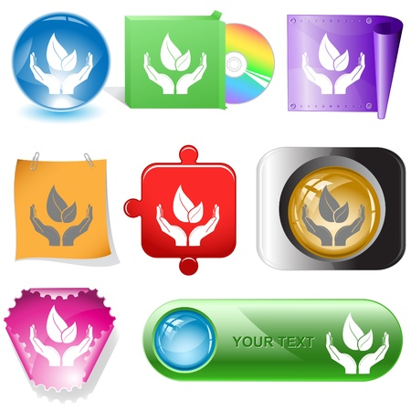 life in hands. Vector internet buttons. Stock Photo - 8456722