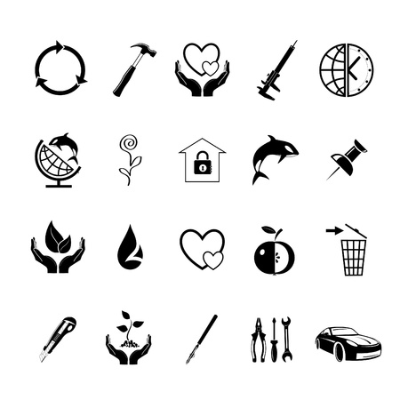 push pin icon: Vector set of icons