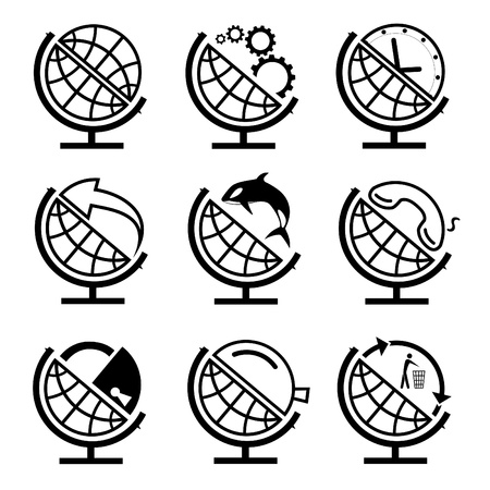 Vector set of globe photo