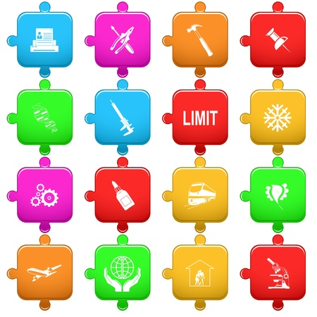 Vector set of puzzle Stock Photo - 8602844