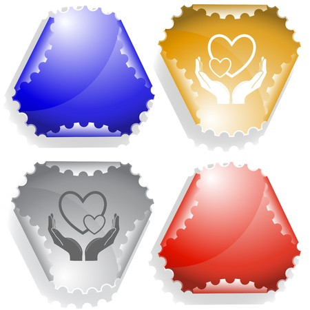 love in hands.   sticker. Stock Photo - 8616574